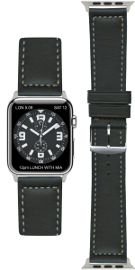 Zwart lederen Apple Watch Strap