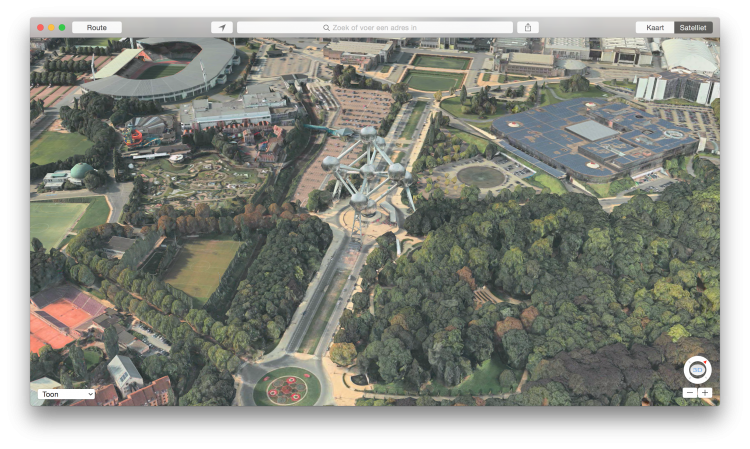 Atomium in 3D in Apple Maps