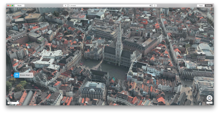 Grote markt Brussel in 3D in Apple Maps