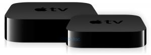 De iets grotere Apple TV 4 naast zijn voorganger. Ontwerp door Michael Steeber.