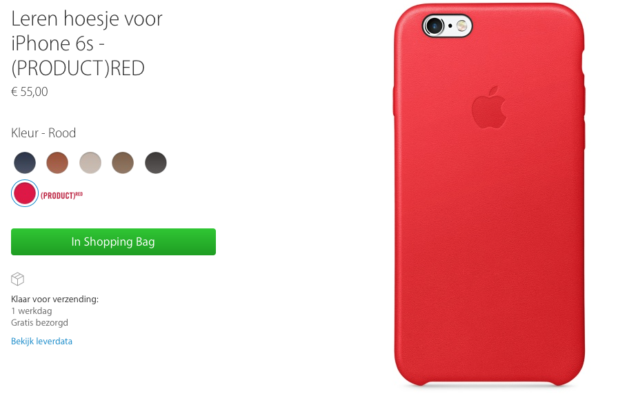 iPhone 6S Silver met (PRODUCT)RED-hoesje in de Apple Store