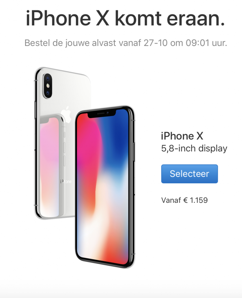 iPhone X prijzen
