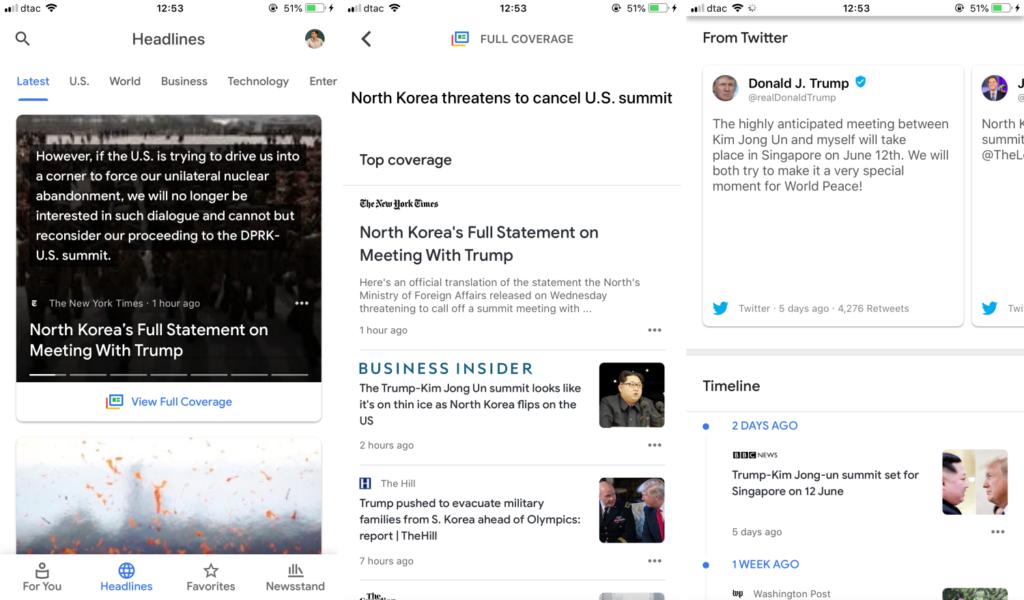 Google News app iOS